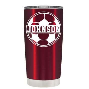 TREK Personalized Soccer Ball on Translucent Red 20 oz Tumbler Cup