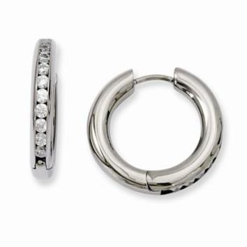 Titanium CZ Hinged Hoop Earrings