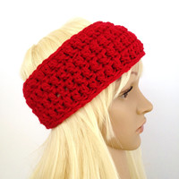 Crochet Ear Warmer- Red - Fits Adult/Teen/Women