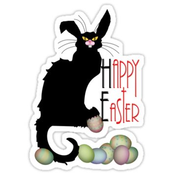 'Le Chat Noir - Easter' Sticker by Gravityx9
