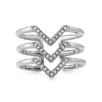 Pavé Chevron Ring - Silver