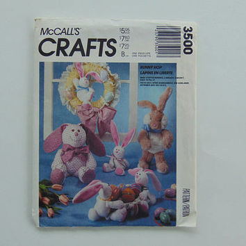 McCall's Crafts 3500 Easter Bunny Hop Stuffed Animal Sewing Pattern UNCUT