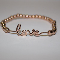 Rose Gold Love Bracelet with Rose Gold beads - Perfect Gift for Her, Wife, Girlfriend, Sister, Mom, Bride, Daughter