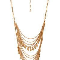 FOREVER 21 Falling Leaves Layered Necklace Gold One