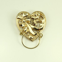 14 Karat Gold Plated Victorian Heart Magnetic EyeGlass Holder, Sun Glass Holder, or ID Holder