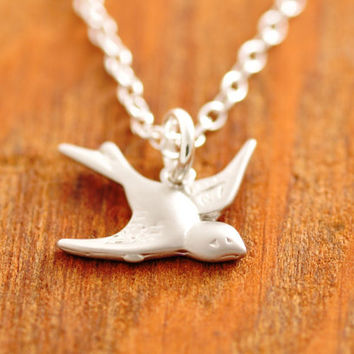 Silver Sparrow Necklace, flying bird necklace, silver bird necklace, petite bird necklace, bird charm necklace, holiday sale, ready to ship