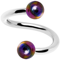 16 Gauge Iridescent Rainbow Acrylic Ball Spiral Twister | Body Candy Body Jewelry