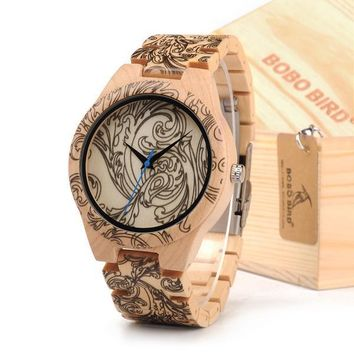 Tattoo Print Wooden Watches Mens
