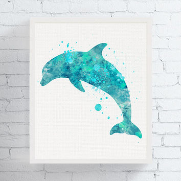 Dolphin Watercolor, Dolphin Print, Dolphin Art, Bathroom Wall Art, Nautical Nursery, Ocean, Under Water, Sea Life, Coastal Decor, Beach Art
