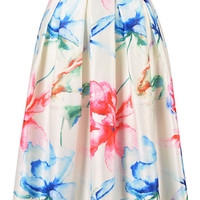 Painted Floral Print Midi Skirt in White