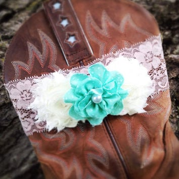 Lace Wedding Garter, Rustic Lace Boot Band, Blue Ivory Flower Garter, Wedding Lingerie, Vintage Lace Garter, Bridal Party Bridal Garter Belt