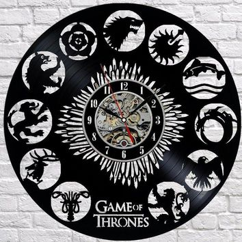 GAME OF THRONES 1 VINYL RECORD WALL CLOCK UNIQUE DESIGN