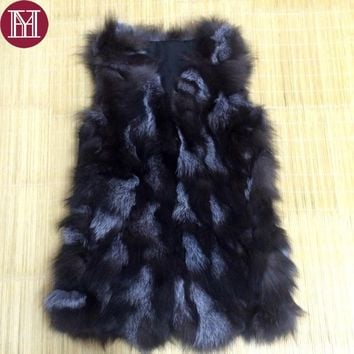 2017 winter women genuine fox fur vest lady fashion 100% real fox fur coat 70 cm  Summer special  offers