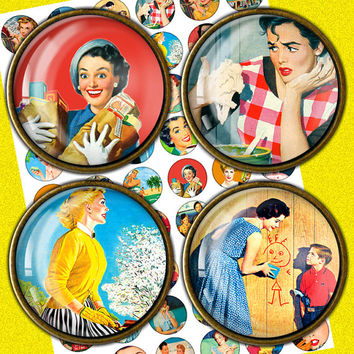 1950s Retro Housewife 1inch, 1.5inch, 25mm for Scrapbooking, Bottle caps, Pendants Printable Digital Collage Sheet ARH147