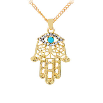 Ethnic Hamsa Fatima Hand Charm Pendant Necklaces for Women Men Evil Eye Inlaid Turquoise Bohemian Style Gold Color Accessories