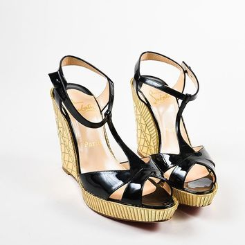 PEAPU2C Christian Louboutin Black Patent Leather Gold Mirror Cotton Club Wedges