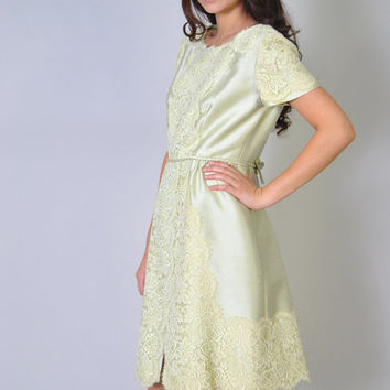 Vintage 60s HARMAY Designer Raw Silk and Lace Shift Dress Pistachio Green Pastel Silk Dress M L