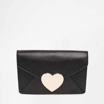 Love Heart Envelope Clutch Bag