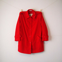 Vintage. 70's. Misty Harbor. Red Trench Coat. Jacket. Rain Coat. Collar Neckline. Button Up. Pockets. Timeless. Classic. Large XL 14 16 18
