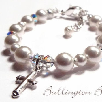 Baby Bracelet, Baby Jewelry, Baby Shower Gift, Baptism Bracelet, Pearl Bracelet, Christening Gift, First Communion, Flower Girl (B1)