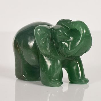 2 Inch Elephant Figurines Craft Carved Natural Stone Green Aventurine Crystal  Mini Animals Statue For Home Decor Chakra Healing
