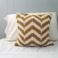 Knit Chevron Throw Pillow in Mustard & Winter White,  Ready to Ship