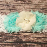 Beautiful Aqua and Cream Chiffon and White Lace Baby Girl Headband! -Baby Headband-Newborn Headband-Fancy Headband-Infant Headband-Hair band