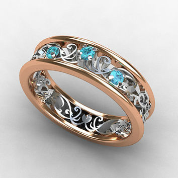 Aquamarine ring, rose gold, white gold, filigree ring, lace ring, blue wedding, wedding band, vintage style, aquamarine