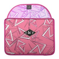 White and Black Zigzags on Pink MacBook Pro Sleeve
