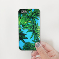 Blue & Green Tropical Jungle Tree printed Plastic Hard Case - iphone 5  - iphone 4 - iphone 4s - Samsung S3 - Samsung S4 - Samsung Note 2