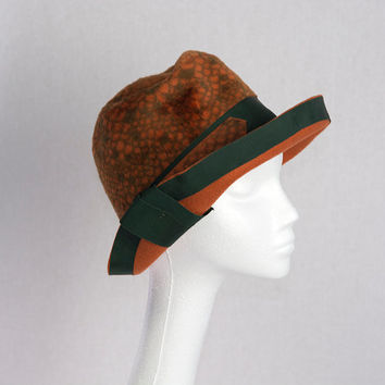 Vintage Rust Orange Fish Scale Pattern Cloche Hat with Olive Green Ribbon Divine! Made in Austria