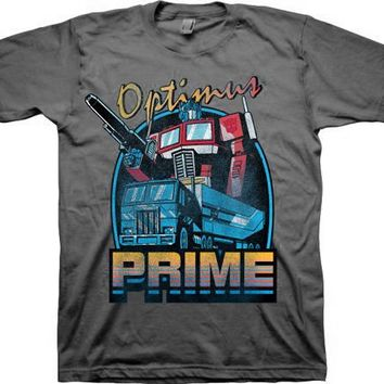 Transformers Optimus Prime Retro Adult Charcoal T-Shirt - Transformers - | TV Store Online