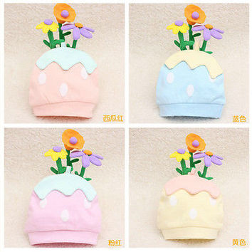 Newborn Baby Infant Bedding Cotton Strawberry Hat Kids Cap for Girl Boy Toddler