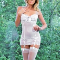 WHITE LACE MESH RHINESTONE BOW INTIMATE CHEMISE @ Amiclubwear Intimates Clothing online store:Lingerie,Corset,Bustier,Women's Intimates,Sexy Intimate,Corset Intimates,intimates underwear,sheer intimates,silk intimates,intimates bras,holiday underwear,gart