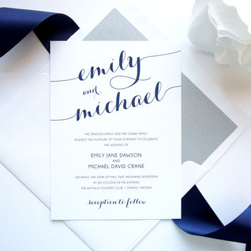 Navy Blue Wedding Invitation - DEPOSIT