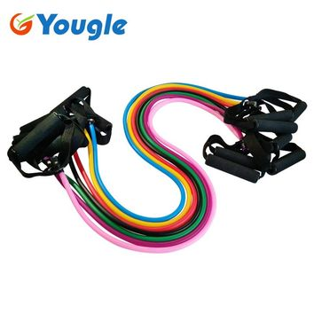 YOUGLE Pilates Latex Tubing Expanders Exercise Tubes Strength Resistance Band Sets Crossfit Fitness Equipment Pull belt Rope