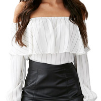 White Color Block Striped Flounce Off Shoulder Long Sleeve Blouse