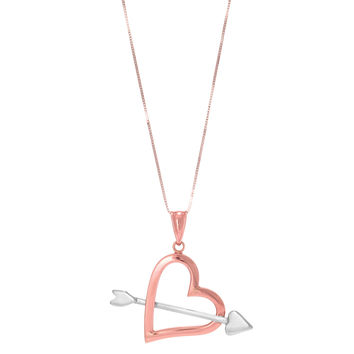 "14k 2 Tone Rose And White Gold  Arrow Through Open Heart Pendant On 18"" Necklace"