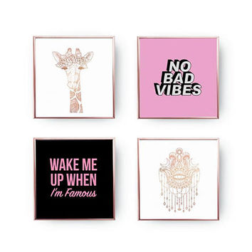 SET of 4 Prints, No Bad Vibes Set, Minimal Art, Hamsa Chains Print, Funny Quote, Gold Foil Print, Boho Giraffe Poster, Home Decor,Teen Print