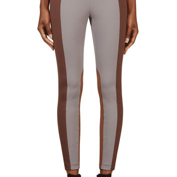 Marc Jacobs Grey And Brown Colorblocked Leggings