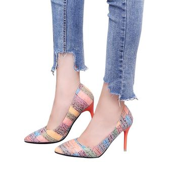 Free shipping shoes Woman Pumps 2018 autumn fashion style heels pointed toe Work shoes single shoes Rainbow color High heels