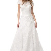 Cap Sleeve A-Line Off White Bridal Dress