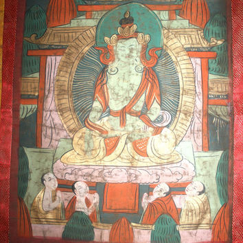 Vintage Asian Silk Painted Buddha Wall Hanging, Antique Alchemy