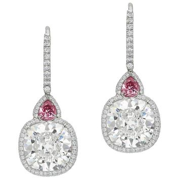Custom Diamond Platinum Drop Earrings