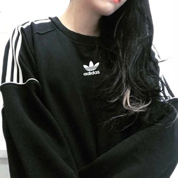 Adidas clover sweater New sports and leisure round neck sweater pullover sleeve stripe
