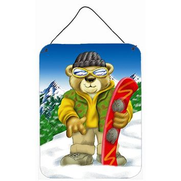 Teddy Bear Snowboarding Wall or Door Hanging Prints APH0857DS1216