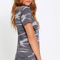 At Attention Grey Camo Print Tee