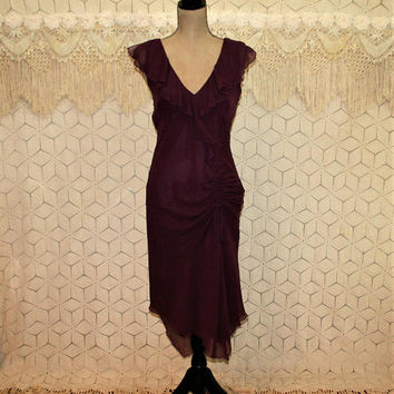 Sexy Silk Chiffon Dress Medium Burgundy Maroon V Neck Ruched Retro Style Evening Dress Cocktail Dress Size 10 Dress Womens Clothing