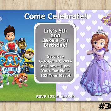 TWINS BIRTHDAY INVITATION Paw Patrol / Sofia the First, Sibling Birthday, Double Birthday, Twin Party, Boy/Girl Party, Custom Invite(#364)