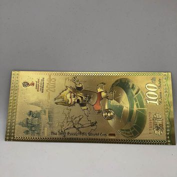 2018 Russia F I F A world cup souvenir golden banknote for celebration gifts and collection
